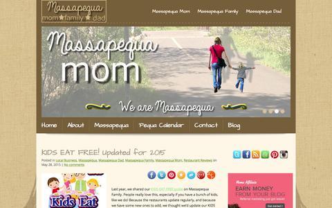 Screenshot of Home Page massapequamom.com - Massapequa Mom: For the mom who lives, works and plays in Massapequa - captured June 22, 2015