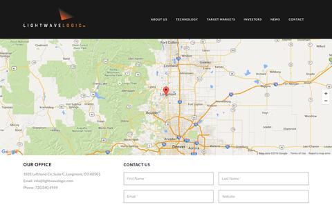 Screenshot of Contact Page lightwavelogic.com - Lightwave Logic |   Contact - captured Feb. 21, 2016