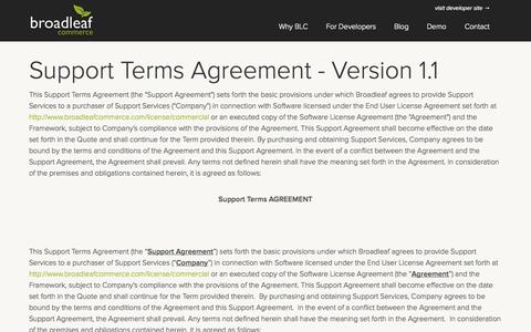 Screenshot of Support Page broadleafcommerce.com - Broadleaf Commerce - Support License - captured Sept. 22, 2014