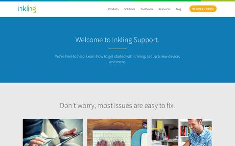 Screenshot of Support Page inkling.com - Get support for the Inkling platform | Inkling - captured Dec. 17, 2014