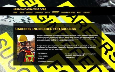 Screenshot of Jobs Page herzog.com - Careers - captured Jan. 22, 2016