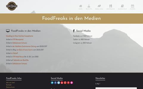 Screenshot of Press Page foodfreaks.ch - FoodFreaks in den Medien - FoodFreaks - captured Oct. 14, 2017