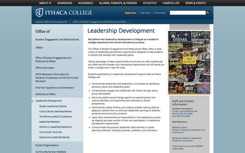 Screenshot of Team Page ithaca.edu - Leadership Development - Office of Student Engagement and Multicultural Affairs - Ithaca College - captured Oct. 15, 2017