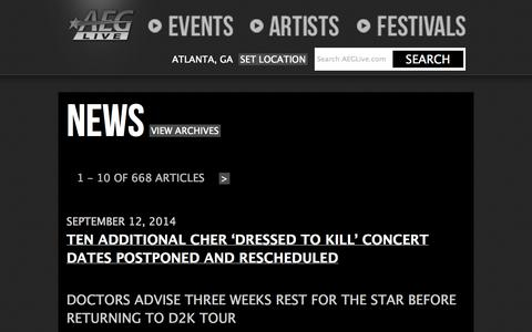 Screenshot of Press Page aeglive.com - AEG Live | News - captured Sept. 23, 2014