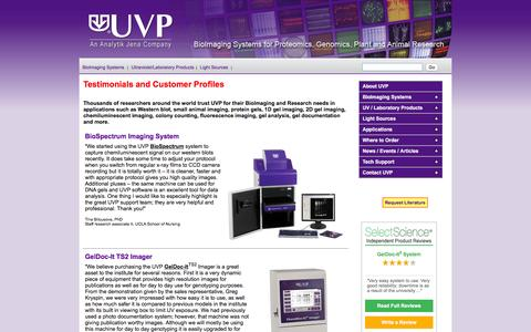 Screenshot of Testimonials Page uvp.com - Testimonials for UVP - Western Blot, small animal imaging, 1D gel imaging, 2D gel imaging, fluorescent proteins, chemilumenescent and chemifluorescent gels, in-vivo tract tracing, bacterial colonies - captured Feb. 16, 2016