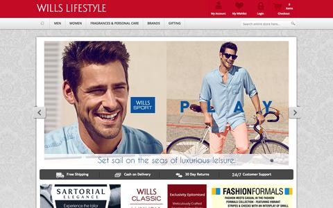 Screenshot of Home Page shopwillslifestyle.com - Wills Lifestyle | Buy Wills Lifestyle Shirts, Clothing Shopping Online in India - captured Sept. 19, 2014