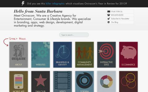 Screenshot of Home Page oniracom.com - Home : Oniracom - Web Design, Development and Social Media Marketing - captured Oct. 1, 2014