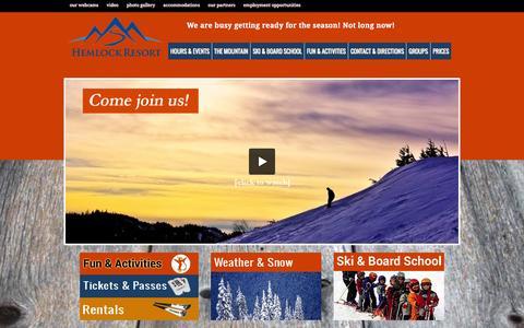 Screenshot of Home Page hemlockresort.ca - Hemlock Resort   Skiing and Snowboarding Resort in the Fraser Valley - captured Dec. 9, 2015