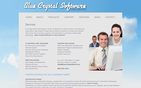 Screenshot of Services Page bluecrystalsoftware.com - Blue Crystal Software Corporation - Services - captured Sept. 30, 2014