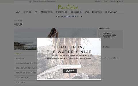 Screenshot of Contact Page shopplanetblue.com - Help - captured Sept. 19, 2014