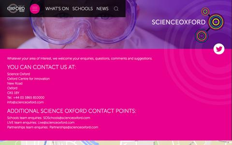 Screenshot of Contact Page scienceoxford.com - Science Oxford Contact - Science Oxford - captured July 23, 2016