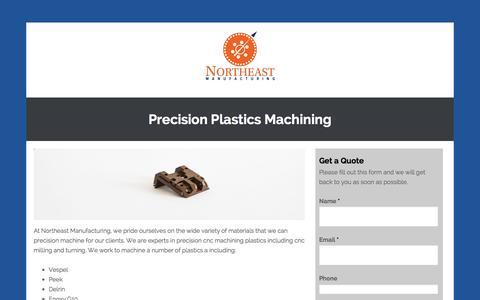 Screenshot of Landing Page northeastmfg.com - Precision Plastics Machining - Northeast Manufacturing - captured Oct. 27, 2014