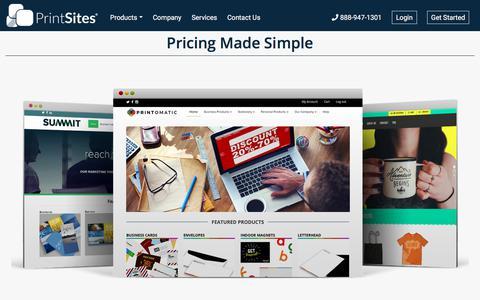 Screenshot of Pricing Page printsites.com - PrintSites | Pricing Made Simple Web-To-Print | PrintSites - captured Oct. 28, 2019