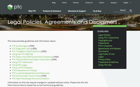 Screenshot of Terms Page ptc.com - Legal Policies, Agreements and Disclaimers | PTC - captured Aug. 10, 2018