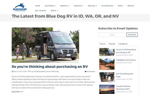 Screenshot of Blog bluedogrv.com - The Latest from Blue Dog RV in ID, WA, OR, and NV - captured June 1, 2017