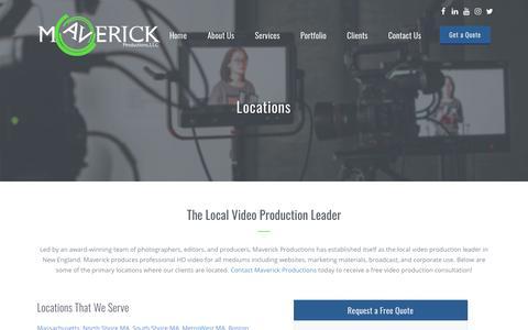 Screenshot of Locations Page maverickboston.com - Locations That We Serve - Maverick Productions - captured Oct. 1, 2018
