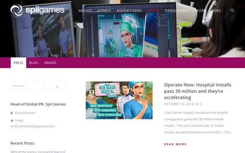 Screenshot of Press Page spilgames.com - Press - Spil Games - captured Nov. 3, 2018