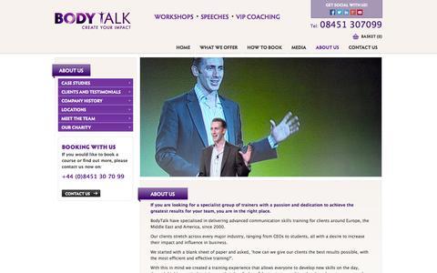 Screenshot of About Page ukbodytalk.com - Advanced Presentation Courses   Public Speaking Training - captured Oct. 3, 2014