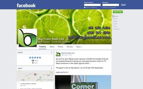 Screenshot of Facebook Page facebook.com - Big Front Door Ltd - Elderslie, United Kingdom - Web Design, Computer Services | Facebook - captured Oct. 23, 2014