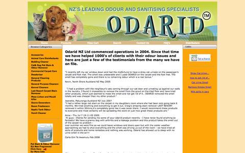 Screenshot of Testimonials Page odarid.co.nz - Testimonials - captured Oct. 9, 2014