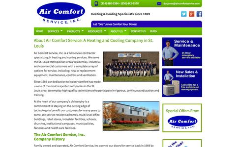 Screenshot of About Page aircomfortservice.com - Air Comfort Service: Heating and Cooling Company in St. Louis - captured Sept. 22, 2014