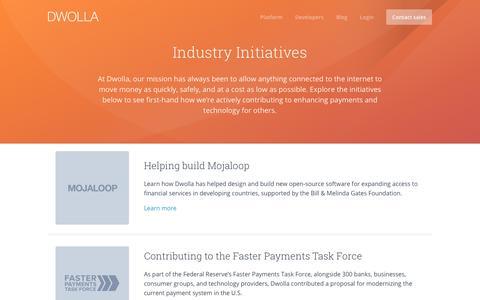 Screenshot of dwolla.com - Dwolla Industry Initiatives - captured Dec. 30, 2017