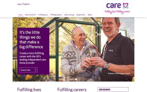 Screenshot of Jobs Page careuk.com - Care UK: home - captured July 11, 2016