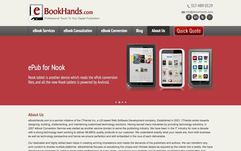 Screenshot of About Page ebookhands.com - Ebook Publishing Companies, Convert To Kindle Format, Pdf Epub Conversion - eBookHands - captured Sept. 30, 2014