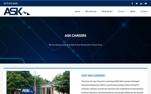 Screenshot of Jobs Page justask.net - Careers - Ask - captured Aug. 16, 2019