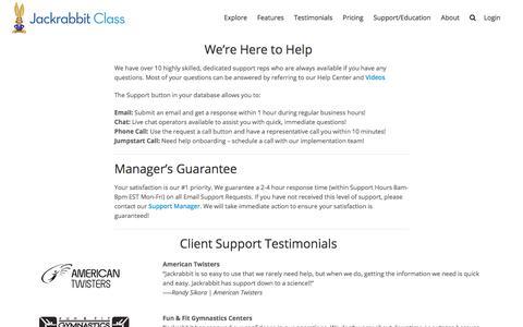 Screenshot of Team Page jackrabbitclass.com - Support Team - Jackrabbit Class - captured March 14, 2018