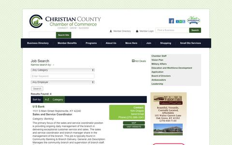 Screenshot of Jobs Page christiancountychamber.com - Job Search - Christian County Chamber of Commerce - captured Jan. 31, 2016