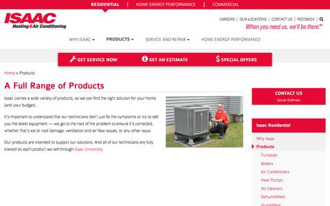 Screenshot of Products Page isaacheating.com - Full Range of HVAC Heating & Cooling Products & Services - captured Nov. 19, 2016