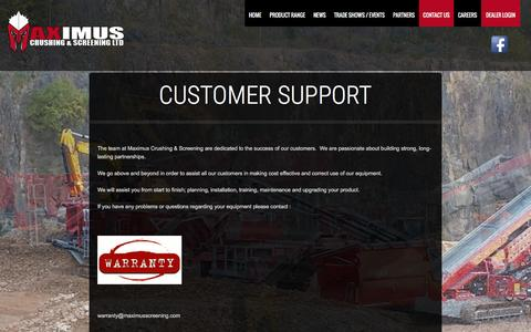 Screenshot of Support Page maximusscreening.com - Customer Support   Maximus Screening   Crushing & Screening Screeners, Crushers, Crushing, Recycling Machinery - captured Feb. 3, 2016