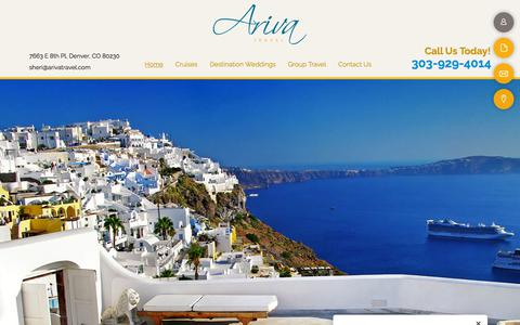 Screenshot of Home Page arivatravel.com - Vacation Packages & Travel Agency - Denver, CO - Ariva Travel - captured July 30, 2018