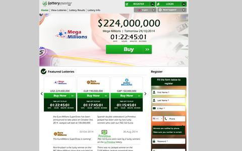 Screenshot of Privacy Page Contact Page Support Page Login Page lotterymaster.com - Lottery Master | Play the world's biggest national lotteries - captured Oct. 23, 2014