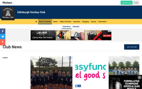 Screenshot of Press Page pitchero.com - News - Edinburgh Hockey Club - captured Oct. 22, 2018