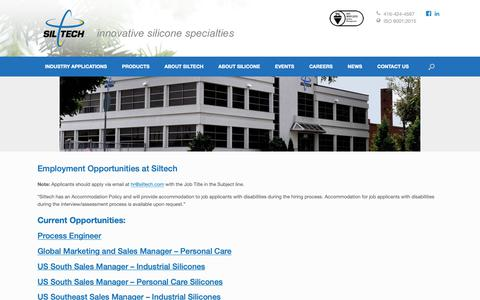 Screenshot of Jobs Page siltech.com - CAREERS - Siltech Corporation - captured Oct. 2, 2018