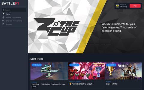 Screenshot of Home Page battlefy.com - Battlefy | Find and Organize Esports Tournaments - captured July 13, 2018