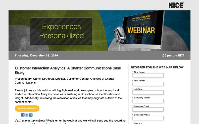 [Webinar] Customer Interactions Analytics: A Charter Communications Case Study | NICE