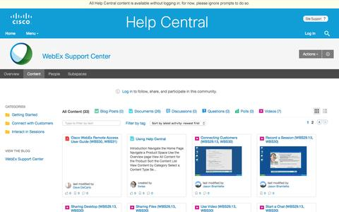 Screenshot of Support Page webex.com - WebEx Support Center | Cisco Cloud Collaboration Help Central - captured Jan. 9, 2017