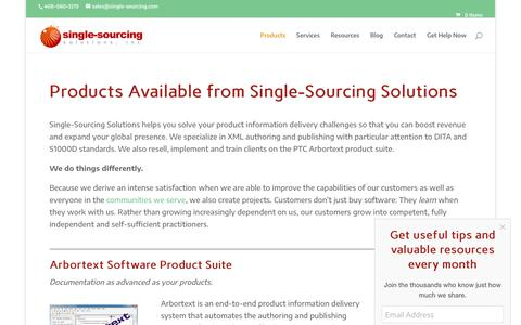 Screenshot of Products Page single-sourcing.com - Products Available from Single-Sourcing Solutions - captured Oct. 2, 2018