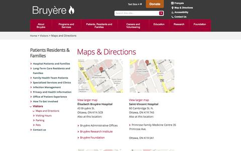Screenshot of Maps & Directions Page bruyere.org - Bruyère - Maps and Directions - captured Oct. 11, 2017