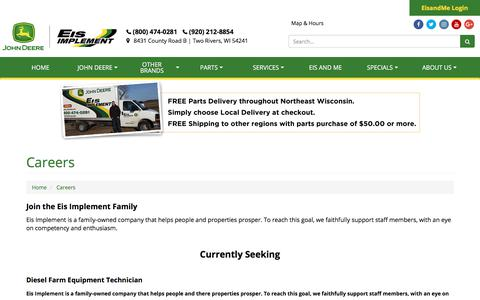 Screenshot of Jobs Page eisimplementinc.com - Careers Eis Implement Two Rivers, WI (800) 474-0281 - captured July 17, 2018