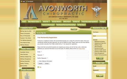 Screenshot of Signup Page avonworthchiropractic.com - Avonworth Chiropractic - Chiropractor In Emsworth, PA USA :: Member Sign-Up - captured Sept. 30, 2014