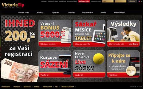 Screenshot of Home Page victoriatip.cz - Kurzové sázky - Live sázky | Victoria Tip a.s. - captured Oct. 6, 2014