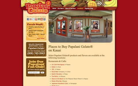 Screenshot of Locations Page papalanigelato.com - Where to find Italian Ice Cream in Hawaii | Papalani Gelato® - captured Nov. 9, 2018