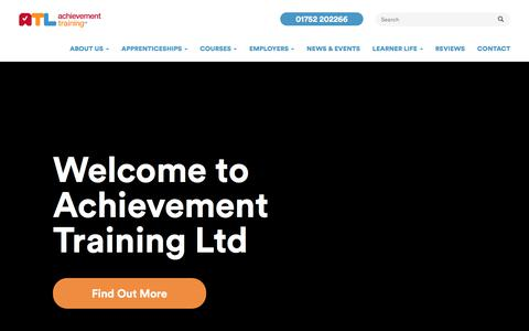Screenshot of Home Page achievementtraining.com - Courses and Apprenticeships in Plymouth | Achievement Training - captured Sept. 24, 2018