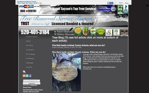 Screenshot of Blog treeremovalservicetucson.com - Tree Blog (To see full article click on more at bottom of each article) - captured Feb. 24, 2016