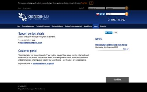 Screenshot of Support Page touchstonefms.co.uk - Contact support - - captured Dec. 26, 2016