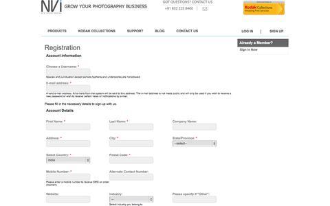 Screenshot of Signup Page nvi.co.in - Registration | New Vision Imaging - captured Oct. 26, 2014
